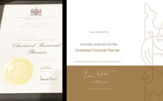 The old Chartered financial planner certificate (right), and the new, digital style (left)